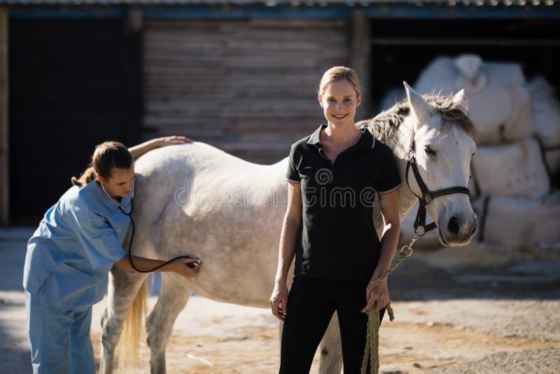 Female jockey standing by vet examining horse at barn. Portrait of female jockey standing by vet examining horse at barn stock photography