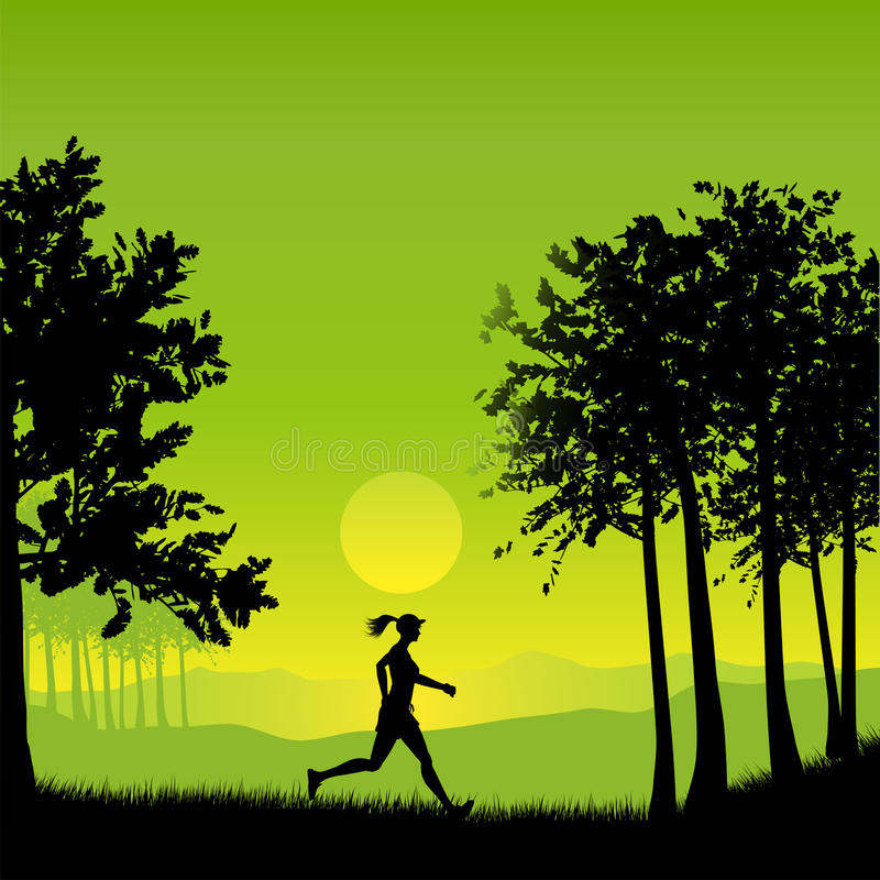 Download Female jogger stock vector. Image of tree, green, exercise - 19097005