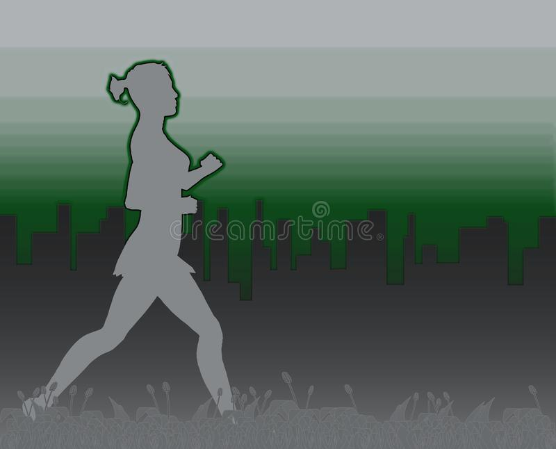 Female Jogger Abstract. A grass footer overlooked by a misty morning cityscape with a jogger stock illustration