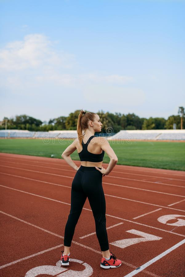 Female jogger standing on start line, stadium. Female jogger standing on start line, training on stadium. Woman doing stretching exercise before running on royalty free stock photo