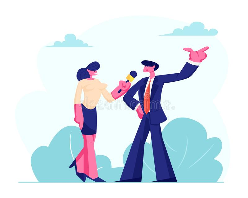 Female Journalist Holding Microphone Taking Interview with Man in Formal Suit, Politics or Businessman Outdoor. Mass Media royalty free illustration