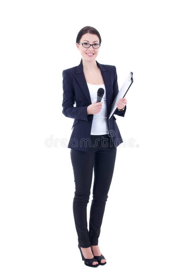 Female journalist with microphone and clipboard isolated on whit stock photo