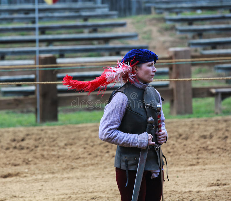 Female Jousting Assistant MD Renaissance Festival royalty free stock images
