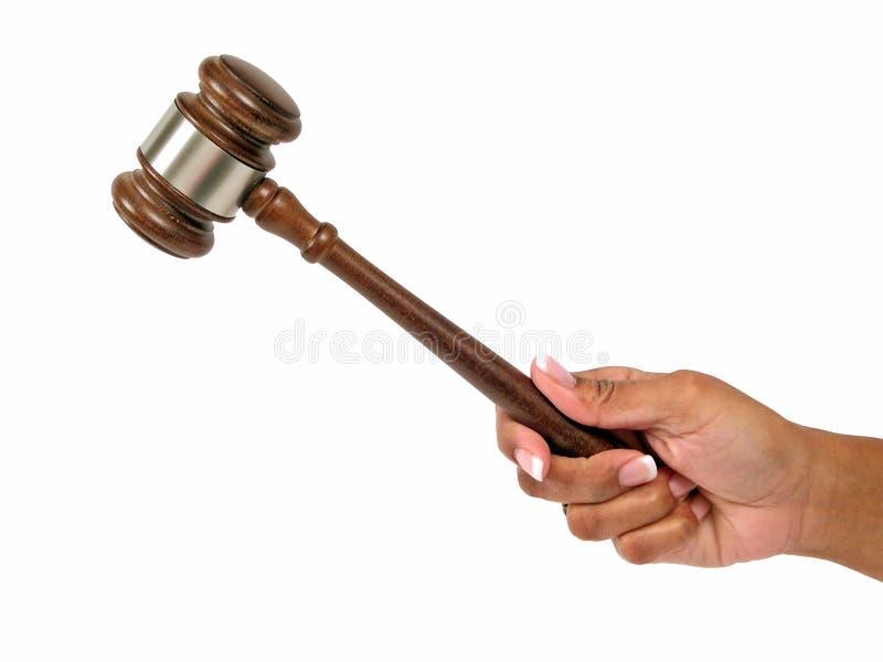 Female Judge. Minority female holding gavel