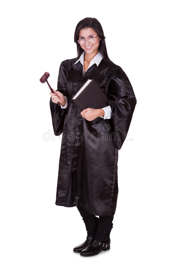 Female judge in a gown stock image