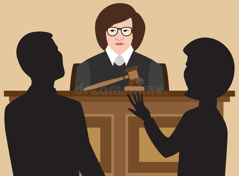 Flat Vector Female Judge. A female judge is listening to two lawyers argue their cases stock illustration