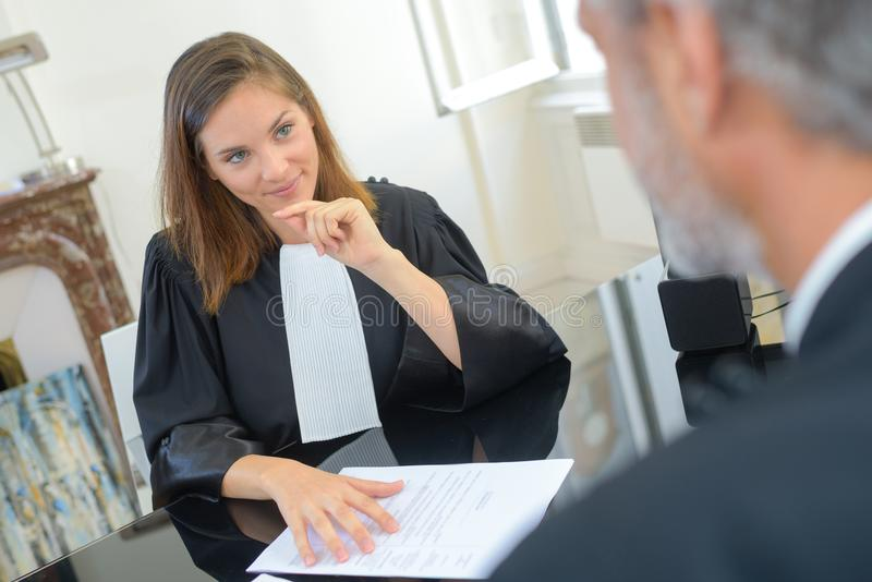 Female judge in robes royalty free stock photography