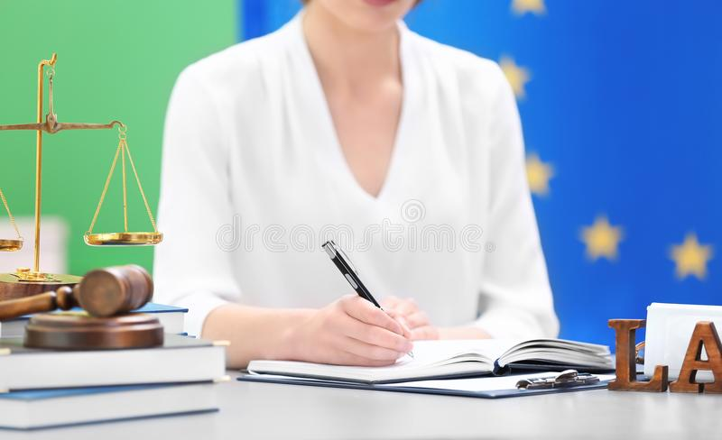 Female judge working with documents stock photography