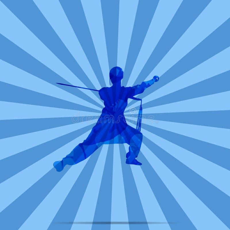 A Female Kung Fu Master.  stock illustration