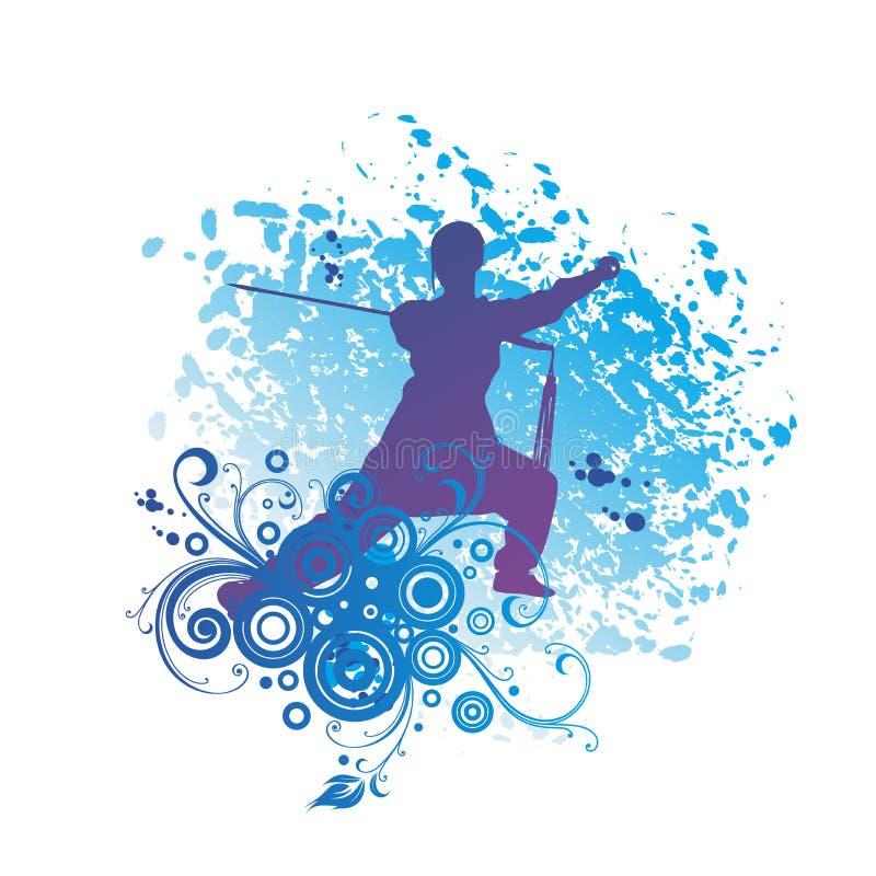 Female Kung Fu Master Silhouette.  royalty free illustration