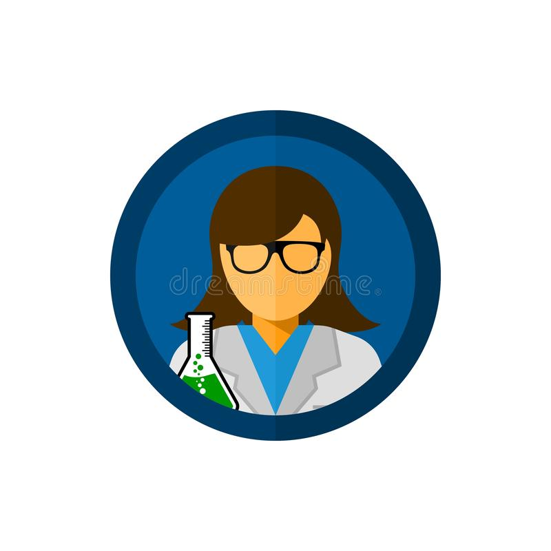 Laboratory assistant with circle vector icon illustration. royalty free illustration