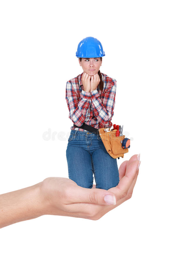 Download Laborer Crouching In A Hand Royalty Free Stock Photos - Image: 30021898