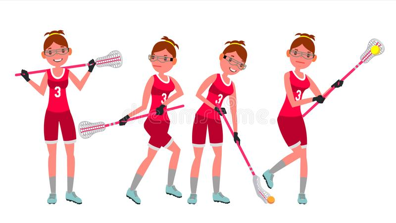 Female Lacrosse Player Vector. Profesional Sport. Holding Lacrosse Stick. Girl s Lacrosse Player. Isolated On White vector illustration