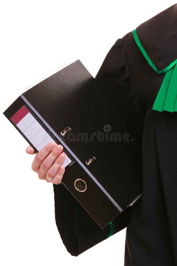 Female lawyer attorney wearing classic polish black green gown. Law court or justice concept. woman lawyer attorney wearing classic polish (Poland) black green stock photo