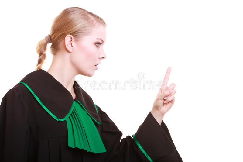 Female lawyer classic polish gown wagging her finger scolding. Law court or justice concept. Woman female person lawyer attorney wearing classic polish (Poland) royalty free stock photos