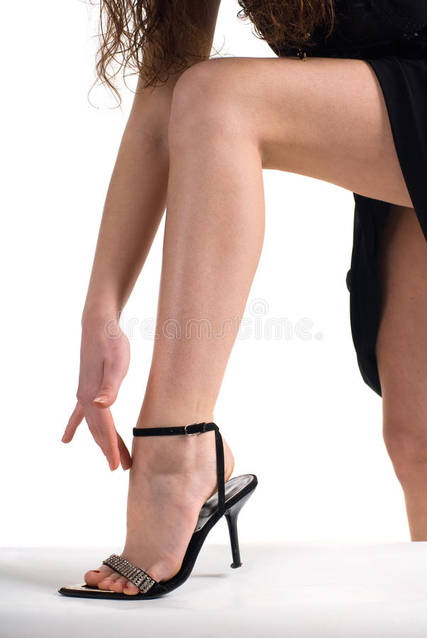 Female leg and hands royalty free stock images