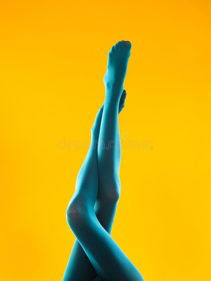 Female Legs In Blue Pantyhose Stock Photo