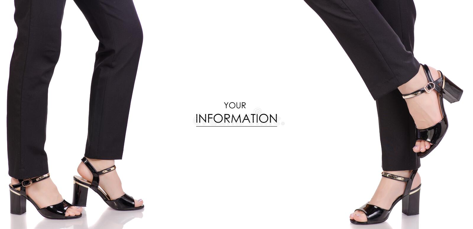 Female legs in classic black pants black lacquer shoes classic style fashion beauty shop buy set pattern. On white background isolation royalty free stock photo