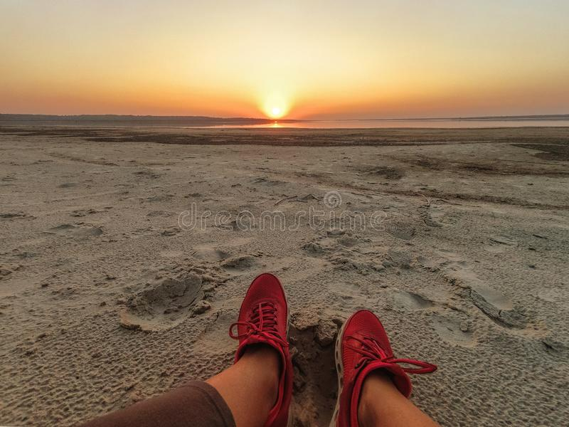 Female legs of a girl close-up on a sandy beach against the background of the sea and sunset.  stock photos