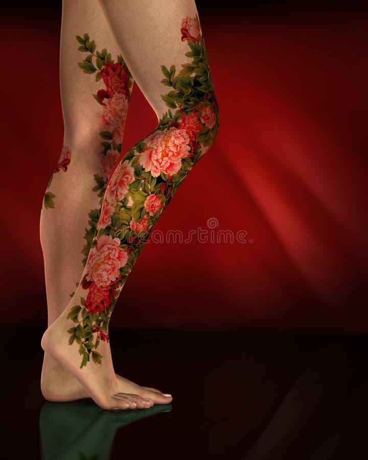 Download Female Legs Red Flower Tattoos Stock Illustration - Image: 14810998