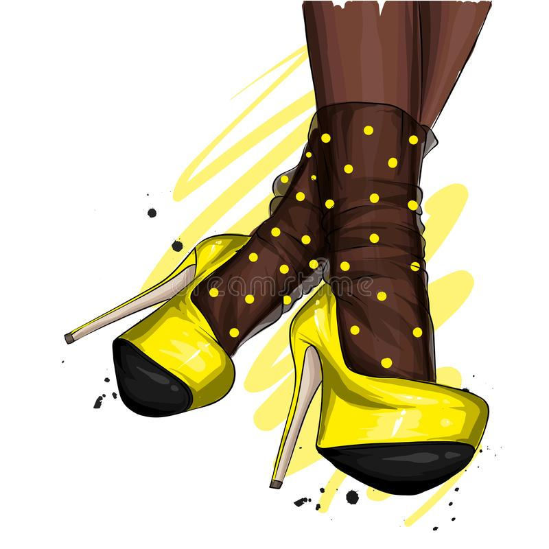 Female legs in stylish shoes with heels and lace socks. Fashion and style, clothing and accessories. Footwear. Vector illustration. For a postcard or a poster vector illustration
