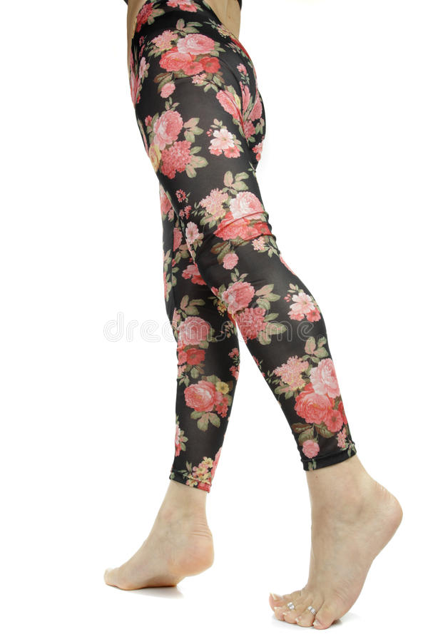 Free Female Legs Wearing Floral Leggings Stock Photography - 23772522
