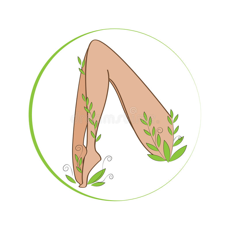 Free Female Legs Winded With Stylized Plant. Organic Feet Cosmetics Symbol. Female Legs Health Sign. Royalty Free Stock Photos - 77399778