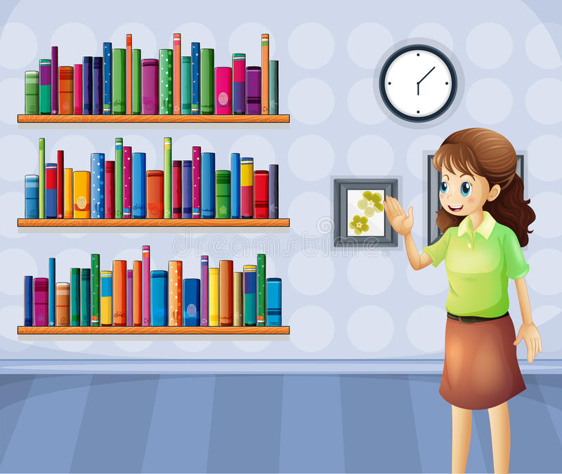 A female librarian inside the library vector illustration