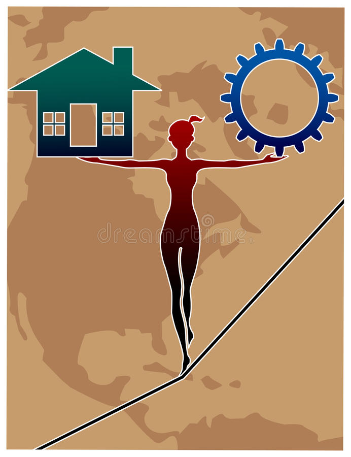Female life balance. Line art design