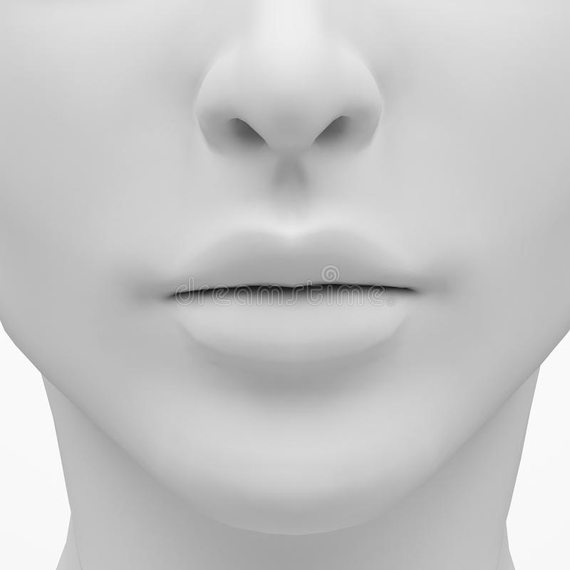 Female lips and nose. 3D rendering image royalty free illustration