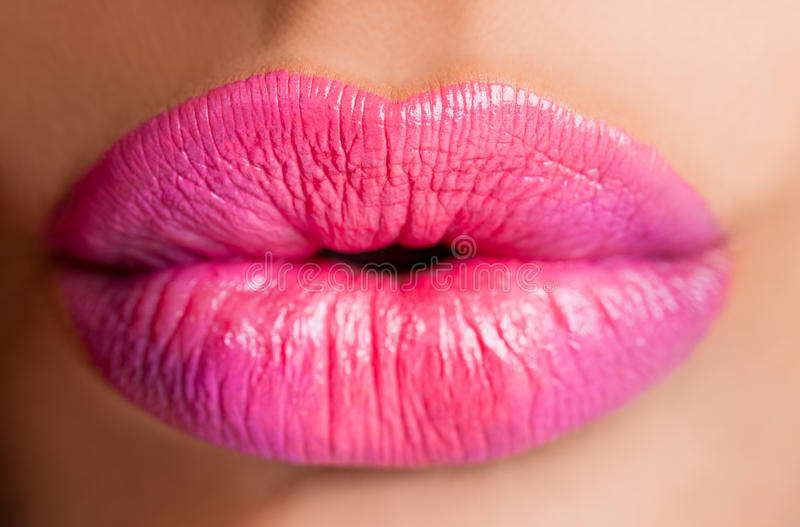 Female lips pink royalty free stock photography
