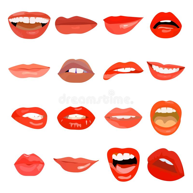 Female lips set on sweet passion. Lip design element lust makeup mouth. Vector print cosmetic sensuality desire tongue vector illustration