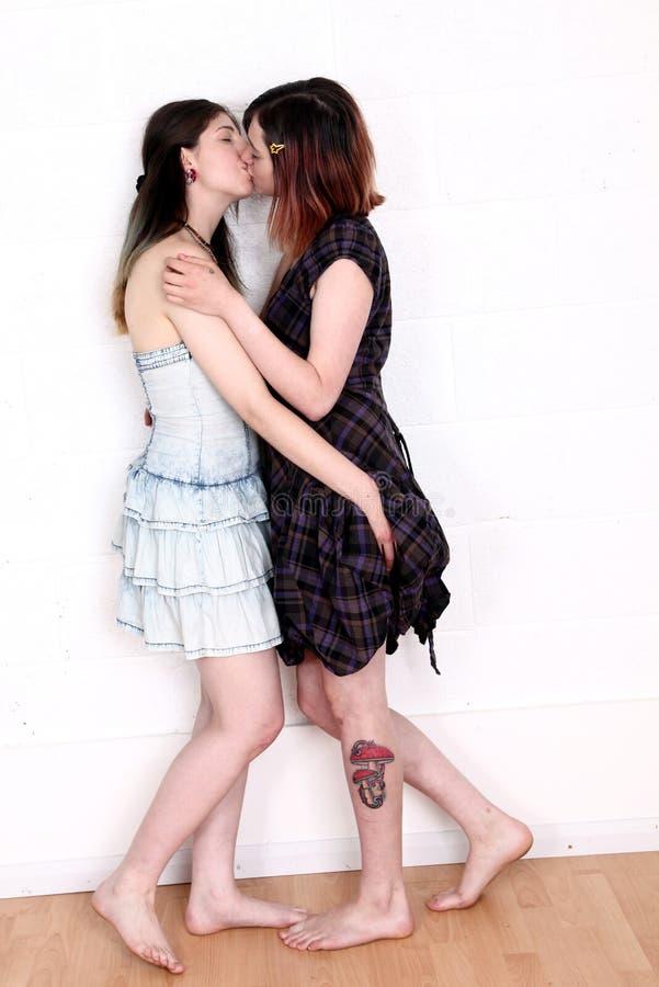 Female lovers kissing
