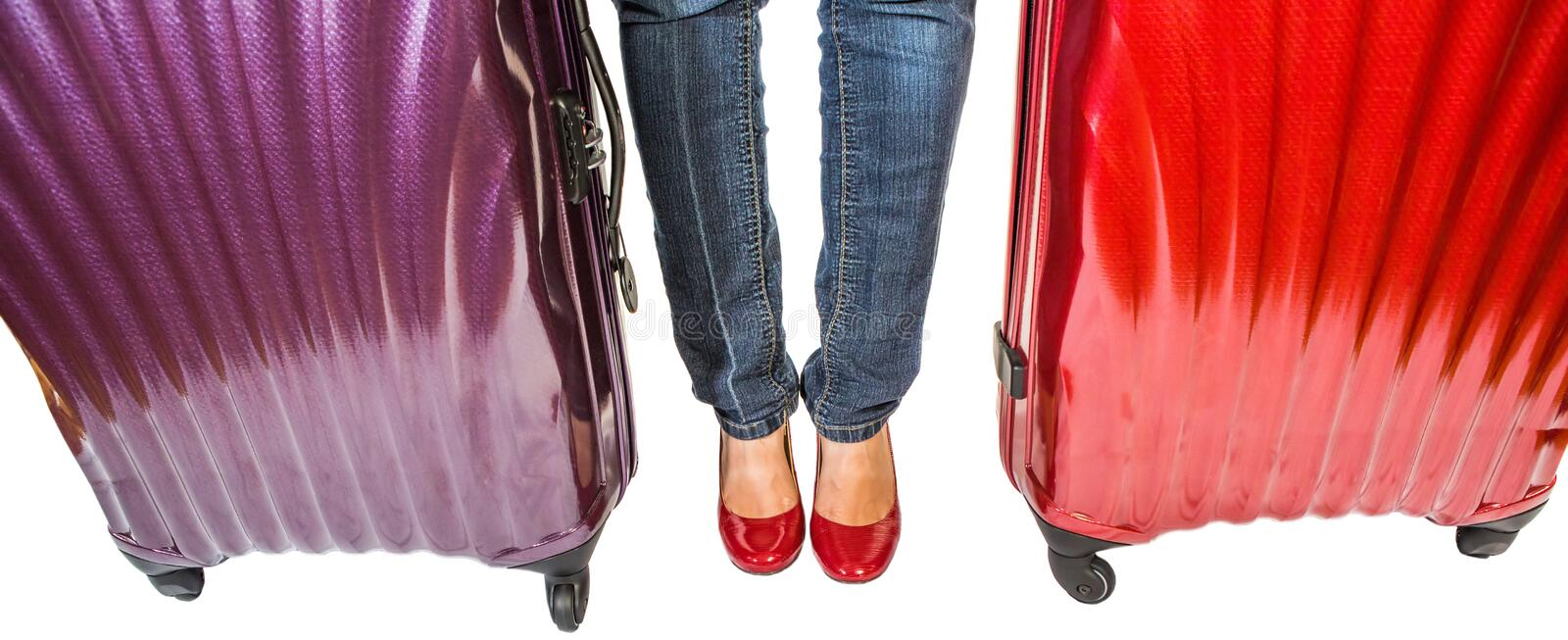 Female and Luggages III royalty free stock photo