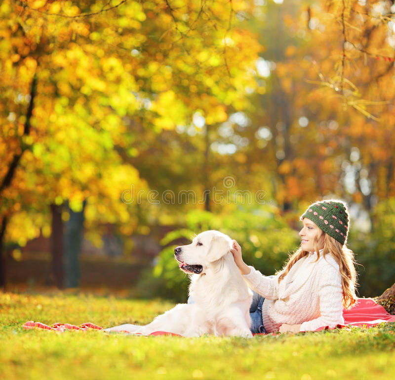 Female lying on a green grass with her dog in a park. Female lying on a green grass with her labrador retriever dog in a park, shot with a tilt and shift lens stock photography