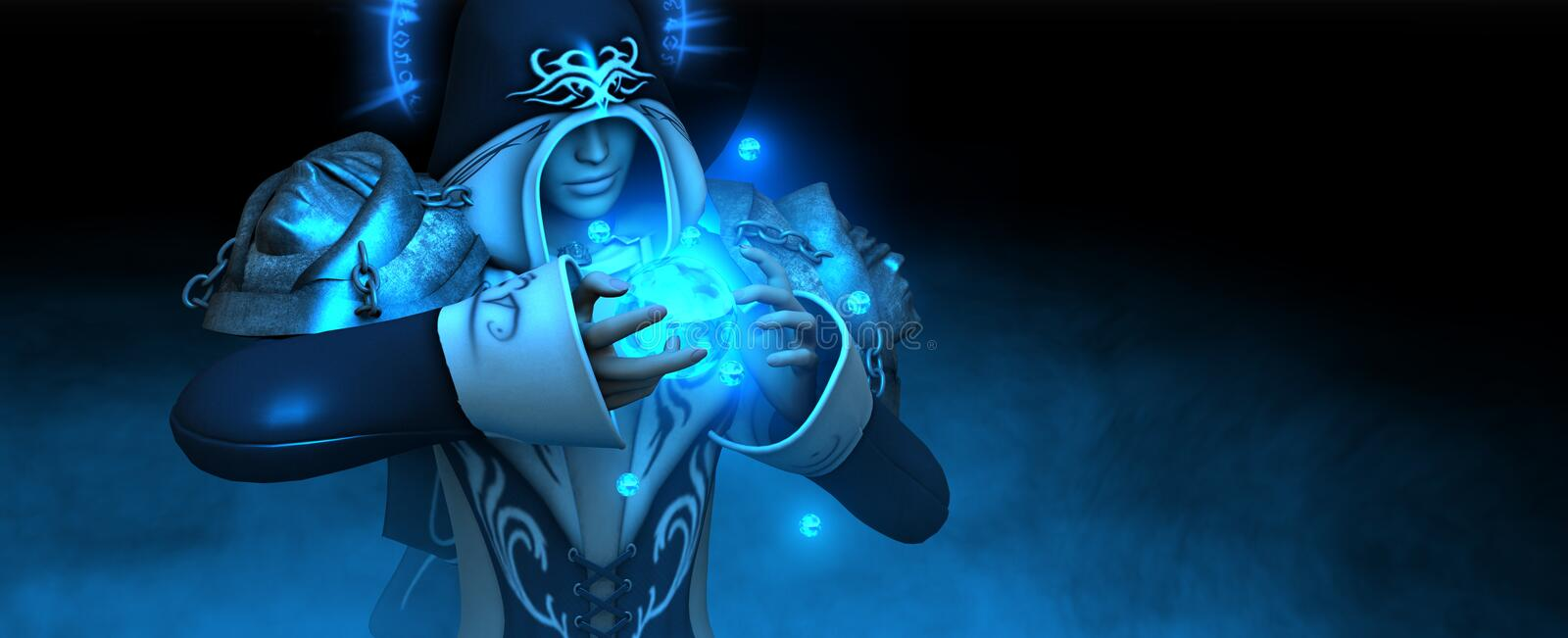Download Female mage casts spell stock illustration. Image of design - 7384057