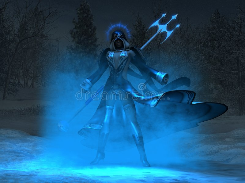 Female mage casts spell