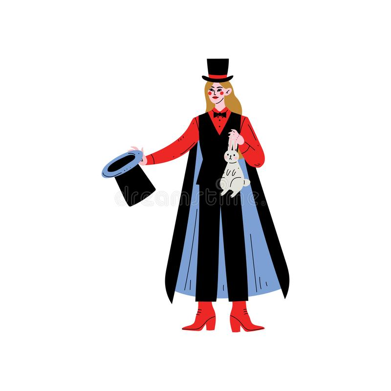 Female Magician Character Holding Top Hat and Rabbit Vector Illustration stock illustration