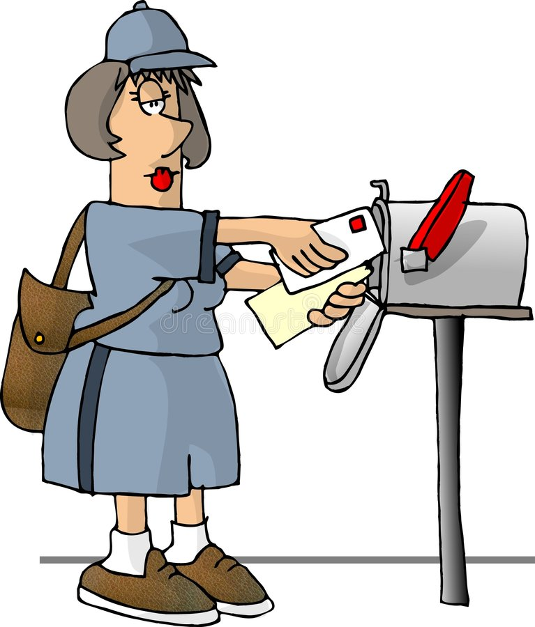 Female mail carrier royalty free illustration