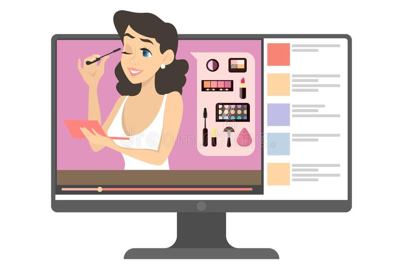 Female makeup blogger in the internet illustration. Female makeup blogger in the internet. Video content with woman doing makeup tutorial. Beauty and fashion stock illustration