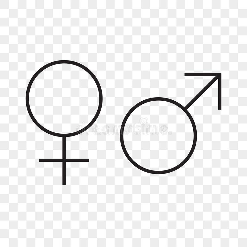 Female and male arrow vecor icon. Man woman gender sex line symbol royalty free illustration