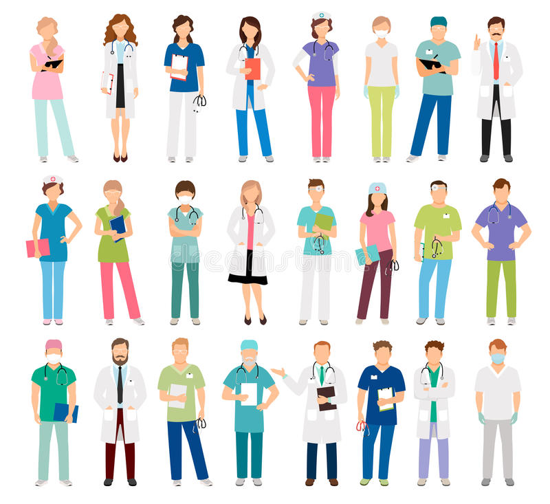 Female and male doctors and nurses royalty free illustration