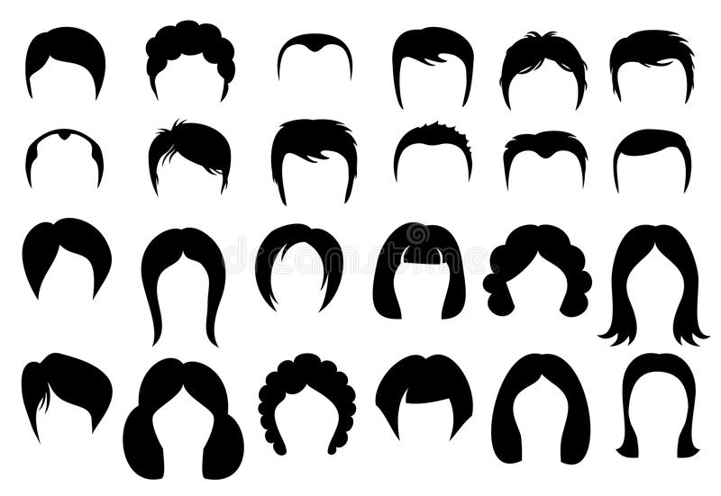 female and male hair vector hairstyle silhouette icons style stock rh dreamstime com vector hair tutorial vector hair