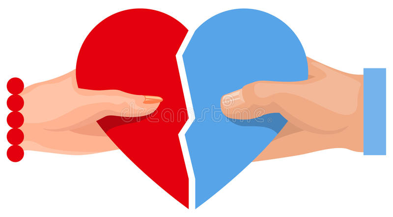 Female And Male Hand Holding Heart Symbol Of Love Two Half Heart