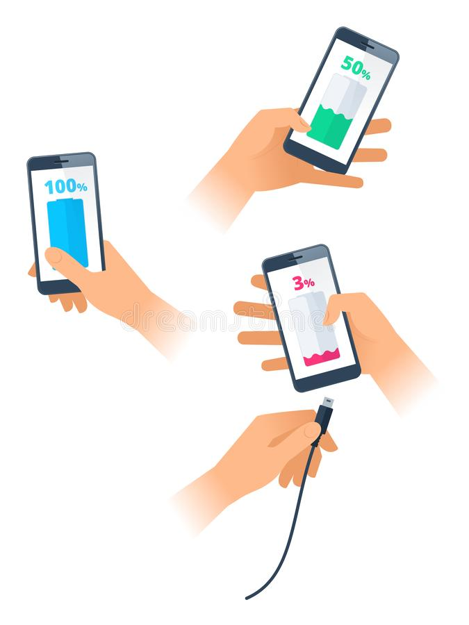 Female and male hands charge the smartphones. Flat vector illustration. A hands charge the smartphones. Female and male hands holding mobile phones with low royalty free illustration
