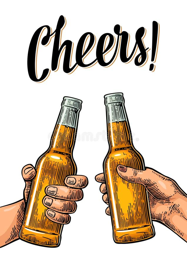Female and male hands holding and clinking with two glasses beer and mulled wine. royalty free illustration