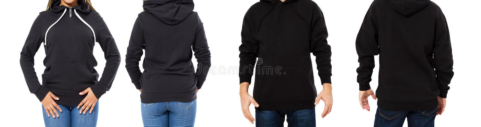 Female and male hoodie mock up isolated, hood mockup empty for logo, sweatshirt collage or set.  royalty free stock photo