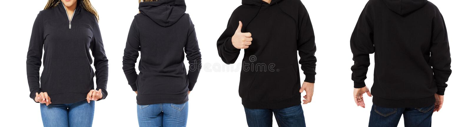 Female and male hoodie mock up isolated - hood set front and back view, girl and man in empty black pullover royalty free stock photo
