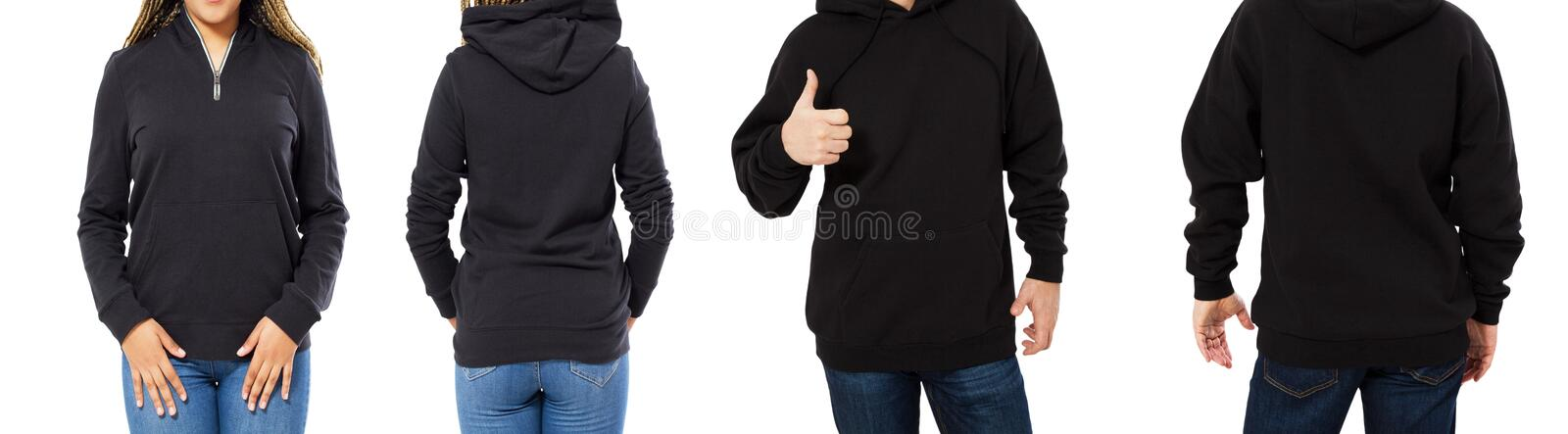 Female and male hoodie mock up isolated - hood set front and back view, girl and man in empty black pullover royalty free stock images
