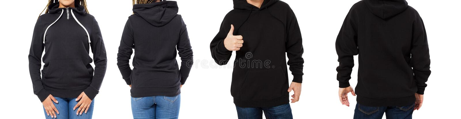 Female and male hoodie mock up isolated - hood set front and back view, girl and man in empty black pullover royalty free stock photos